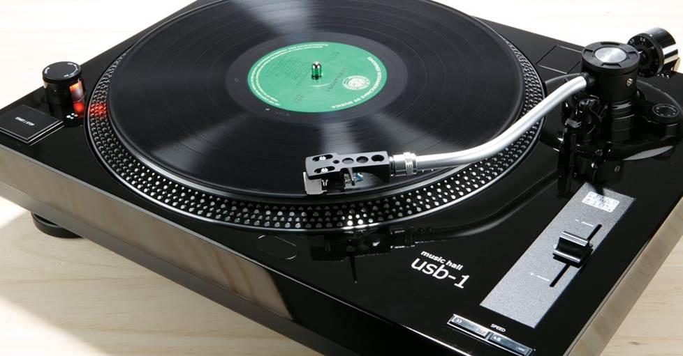 Music Hall USB-1 Manual belt-drive turntable with pre-mounted cartridge, USB output, and built-in phono preamp