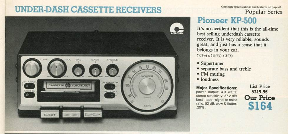 Pioneer KP-500 under-dash cassette receiver