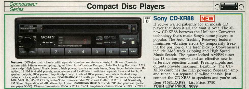 Sony CDX-R88 CD receiver