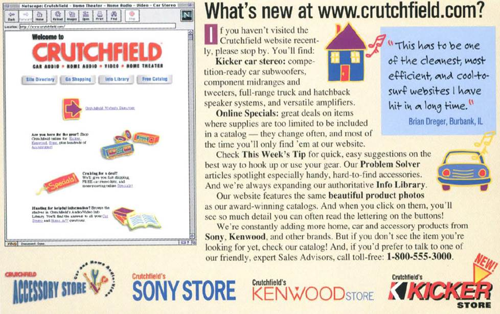 Crutchfield's website, circa 1997