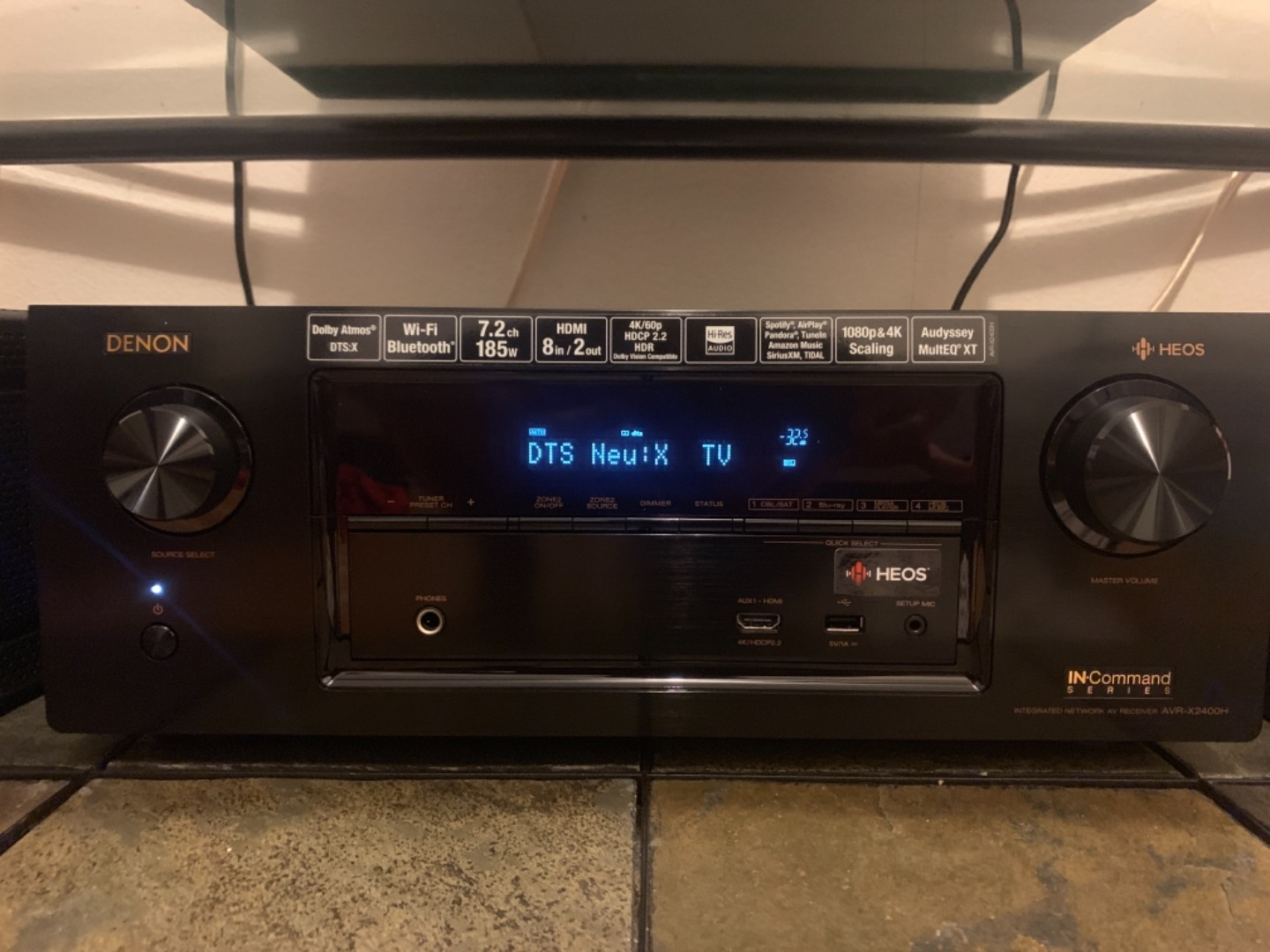 Denon AVR-X2400H IN-Command 7 2-channel home theater receiver with