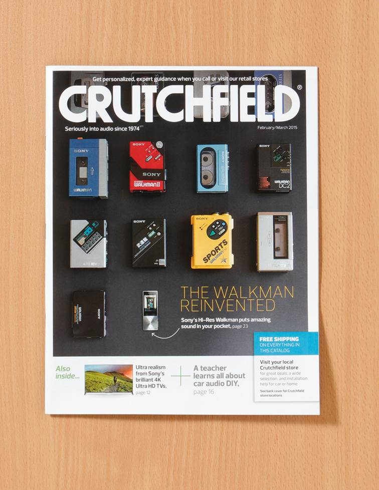 2016 Crutchfield catalog cover with a visual history of the walkman players.