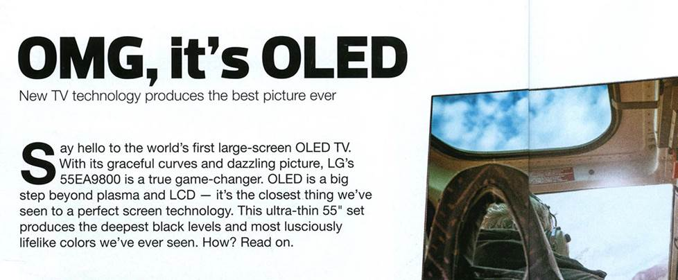 Old Crutchfield catalog page showing OLED TV