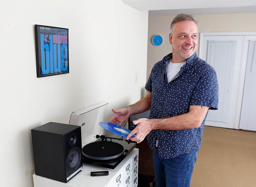 the author at home playing records