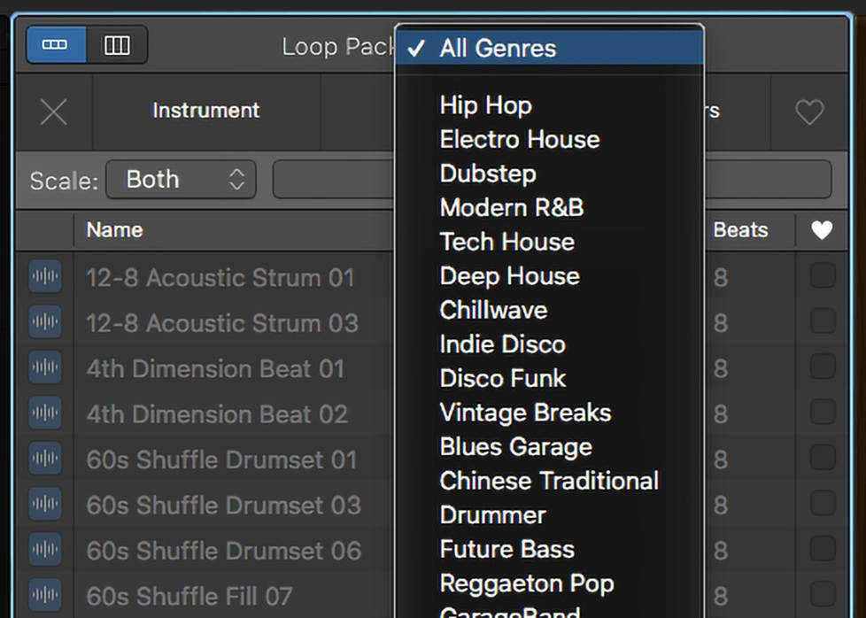 screenshot of garageband loop options