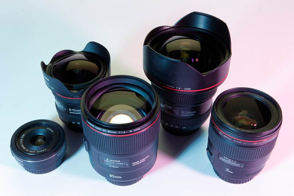 Group shot of various lenses.