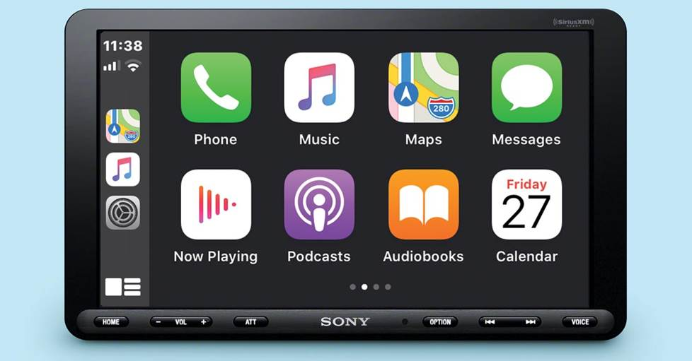 Sony XAV-AX8000 digital multimedia receiver Apple CarPlay screen