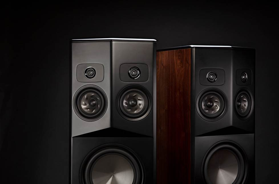 detail of Polk Legend SDA speakers