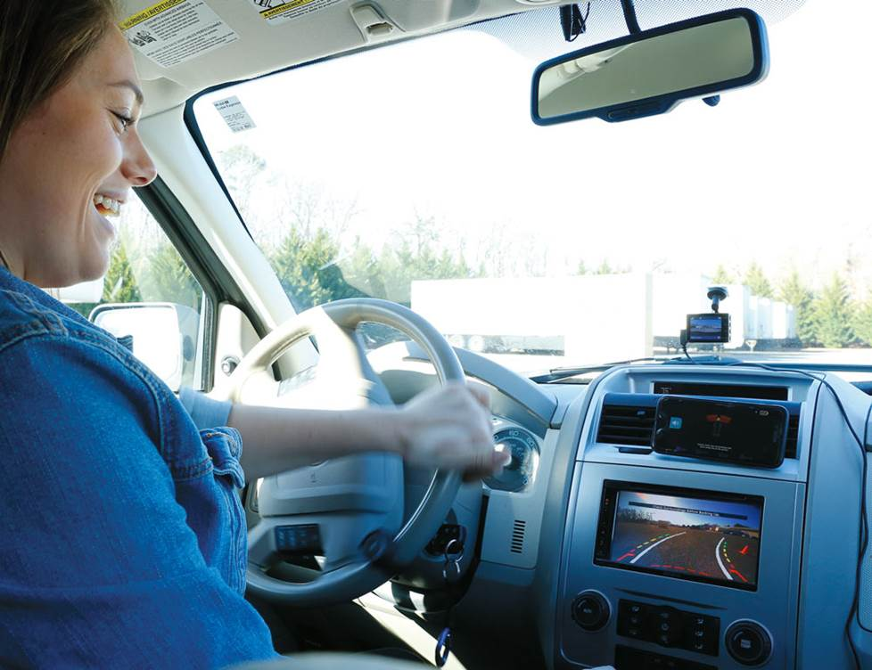 Alexis driving.
