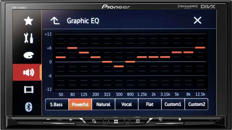 EQ screen on Pioneer DMH-1500NEX digital multimedia receiver