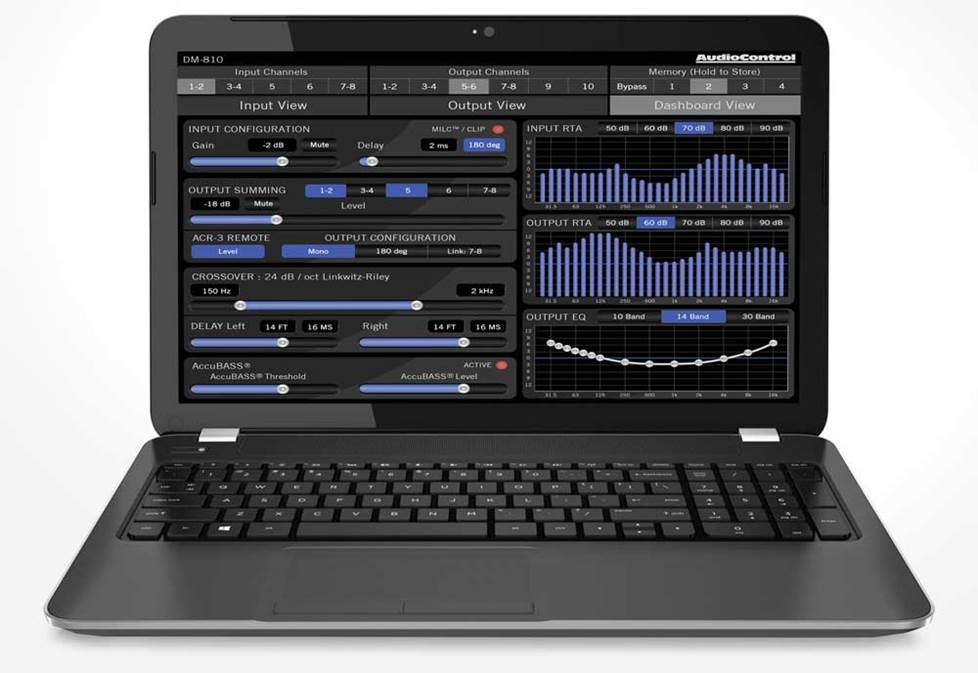 AudioControl software on laptop display