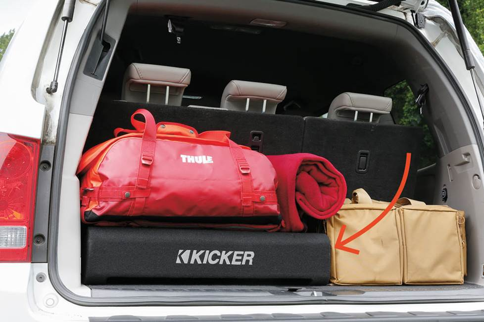 Kicker 47TRTP122 down-firing sub enclosure in a car