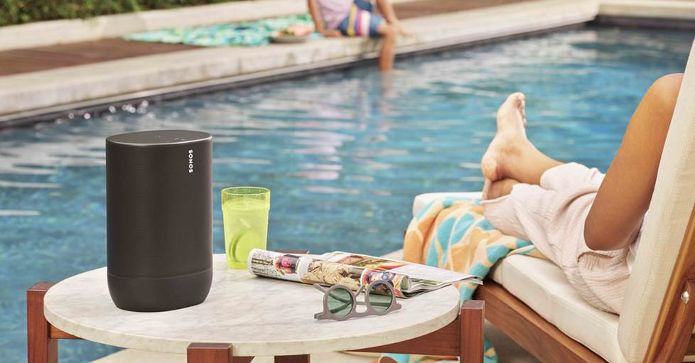 Sonos Move speaker by the pool