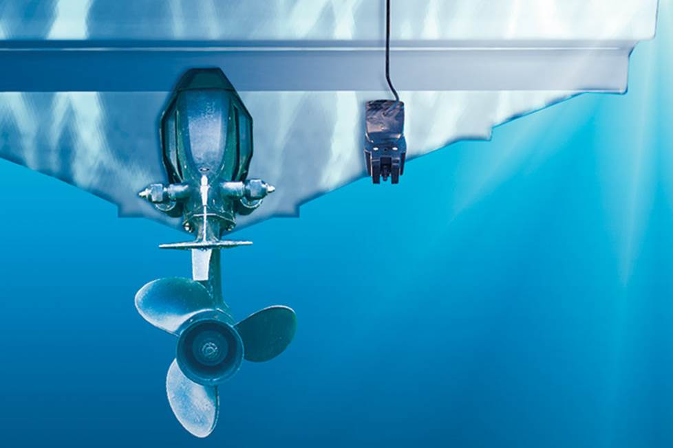 The transducer mounted below the water line