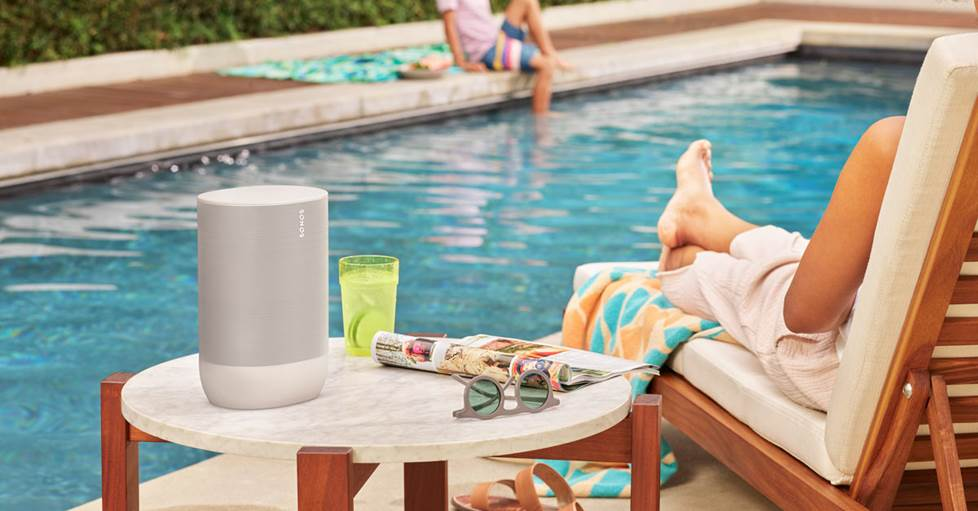 Sonos Move speaker near an outdoor pool