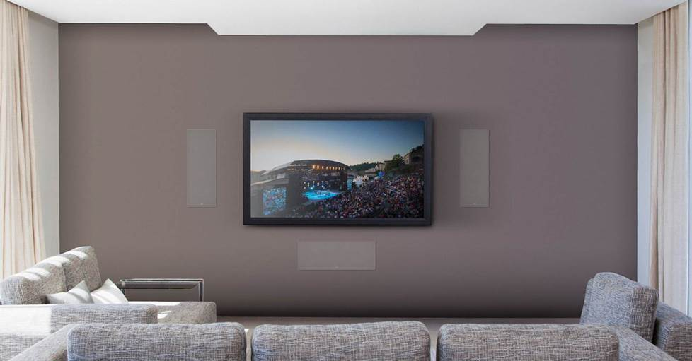 Focal 300 IW6 LCR Multi-purpose in-wall home theater speaker mounted on both sides and below a TV