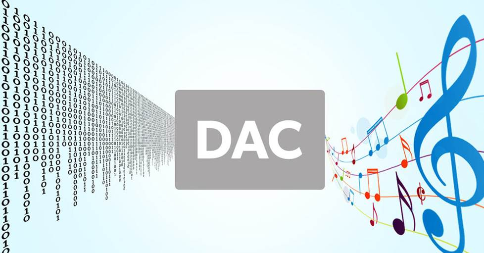 illustration of a DAC, with ones and zeros going in and musical notes coming out
