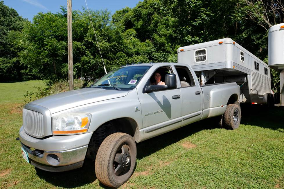 Truck with horse trailer