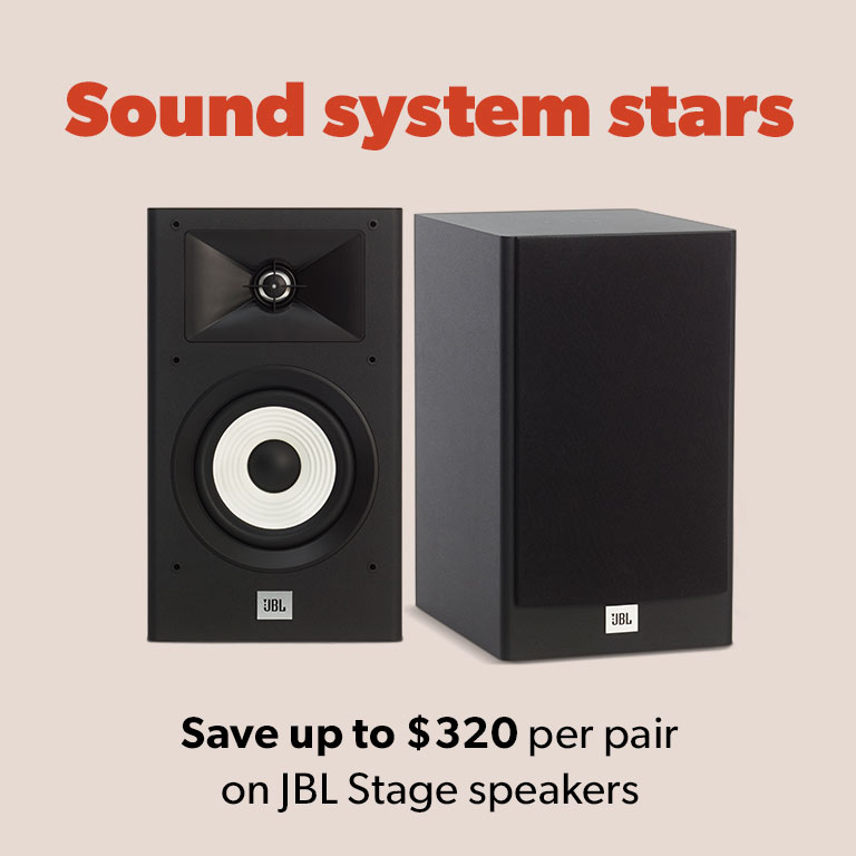 Save up to $320 per pair on JBL Stage speakers.