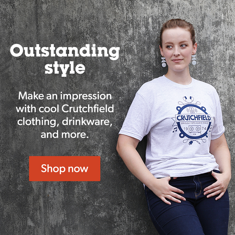 Make an impression with cool Crutchfield clothing, drinkware, and more.