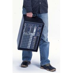 The Yamaha EMX212S powered mixer can easily be carried with one hand via the convenient side handels