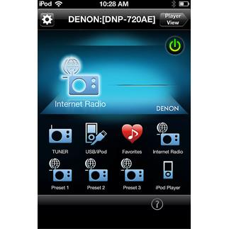 The free Denon Remote app for the Denon DNP-720AE network music player