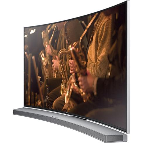 Samsung Hw H7501 With A Curved Screen Tv This Sound Bar