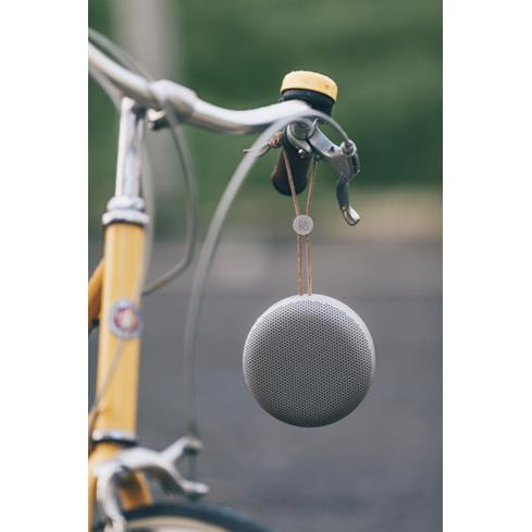 Beoplay A1 hanging from bike
