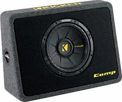 "Front-view of Kicker 40TCWS104 10"" sub enclosure"