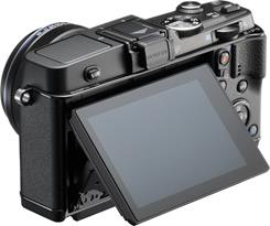 The Olympus PEN E-P5 LCD tilts up and down
