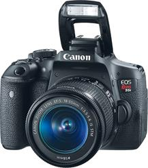 The Canon EOS Rebel T6i Zoom Kit features a built-in flash.