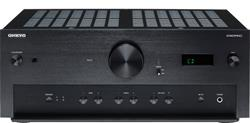 The Onkyo A-9070 integrated amplifier hides some controls in a flip-down panel on the front of the unit