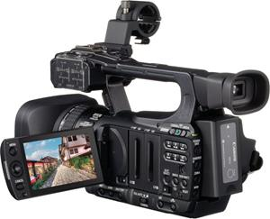 The Canon XF105, with the LCD display deployed