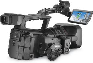 The Canon XF300, with the LCD display deployed