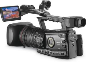The Canon XF305, with the LCD display deployed