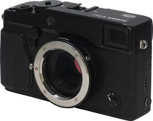 The Fujifilm X-Pro1 with the M-mount adapter attached