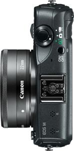 This Canon EOS M has a pancake-style 22mm f/2 lens