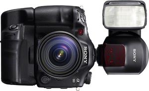 The Sony Alpha SLT-A99V, shown with available grip and external flash unit (not included)