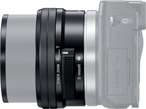 The Sony Alpha SEL-P1650 lens, shown fully extended on an NEX camera body for scale