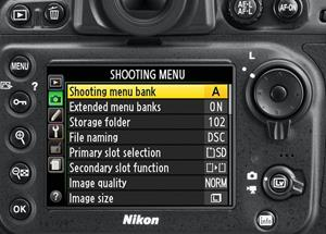 D800E back panel controls and menu