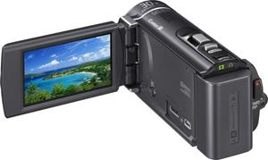 The Sony Handycam® HDR-CX210, with the touch-screen LCD display deployed