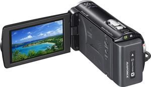 The Sony Handycam® HDR-CX260V, with the touch-screen LCD display deployed