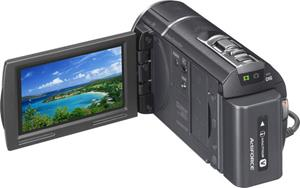The Sony Handycam® HDR-CX580V, with the touch-screen LCD display deployed