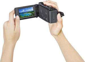The Sony Handycam® HDR-PJ200, with the touch-screen LCD display deployed