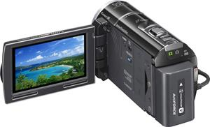 The Sony Handycam® HDR-PJ260V, with the touch-screen LCD display deployed
