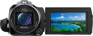 The Sony Handycam® HDR-PJ710V, with the touch-screen LCD display deployed