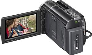 The Sony Handycam® HDR-XR260V, with the touch-screen LCD display deployed