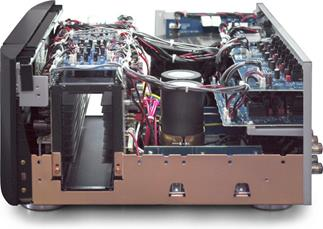 A peek at the innovative cooling tunnel on the Marantz MM 8077 7-channel power amp