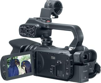 The Canon XA20 professional camcorder features a removable handle with audio inputs and controls