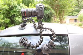CineSquid suction cups in action (shown with camera, Gorillapod Focus tripod, and ballhead, not included)